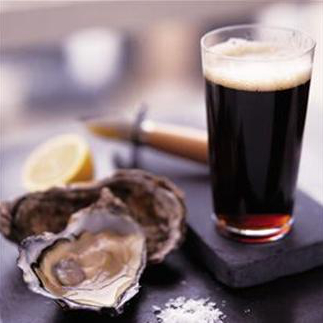 pint of ale and two oysters