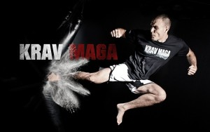 man kicking bag in krav maga