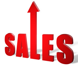 the word sales in red letters