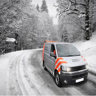 winter scene with van driving