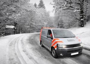 winter scene with van driving